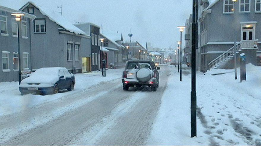 Снегопад в Рейкьявике