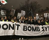 Protesters urge UK lawmakers not to back a 'bomb Syria' vote