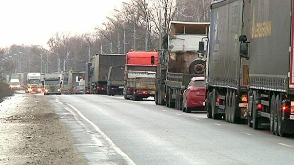 Protesta de los camioneros a las afueras de Moscú