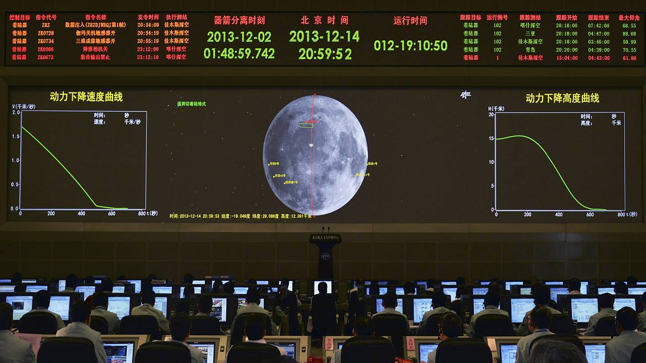 Image: A giant electronic screen displays the mission operation information