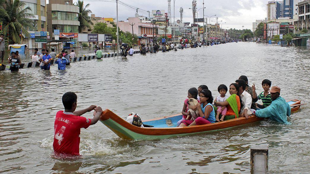 Leve tregua de las lluvias ante las inundaciones del sur de la India