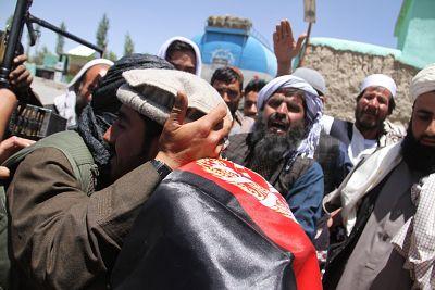 Alleged Taliban members meet and greet Afghan people on Saturday