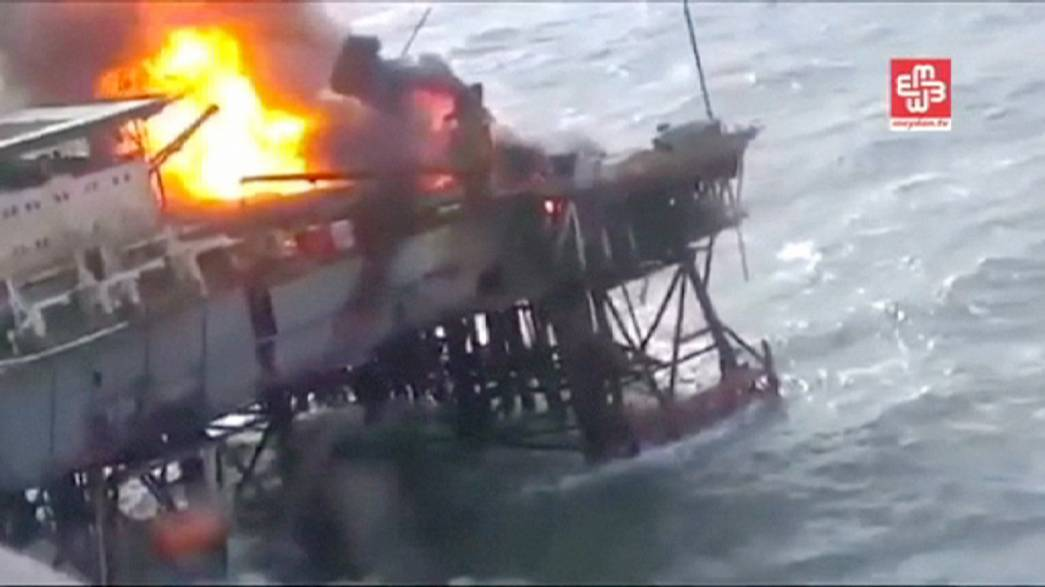 Thirty-two oil workers reported dead as rig catches fire in Caspian Sea