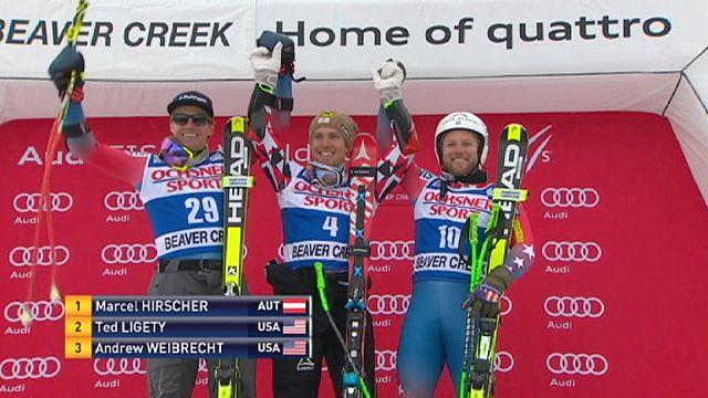 Hirscher swoops down the Birds of Prey piste to win Super-G