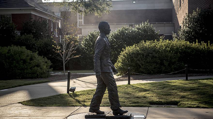 Image: A statue of James Meredith at the University of Mississippi campus