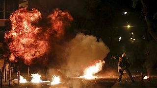 زد و خورد میان پلیس و تظاهرات کنندگان در آتن