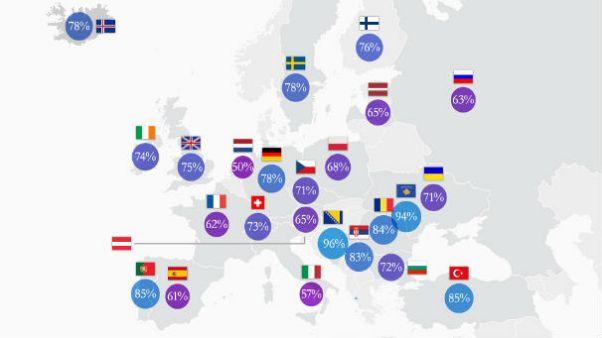 Avrupa'da tuvaletten sonra elini yıkama alışkanlığının haritası