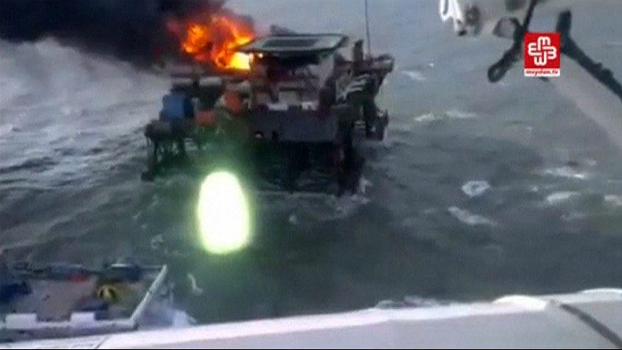 {Watch} 30 workers presumed dead after oil rig fire in Caspian Sea