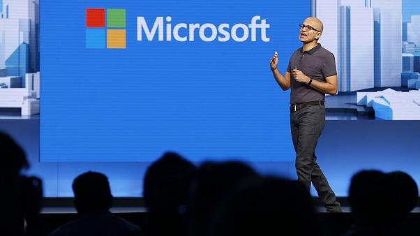 Image: Microsoft CEO Satya Nadella delivers the keynote address during the