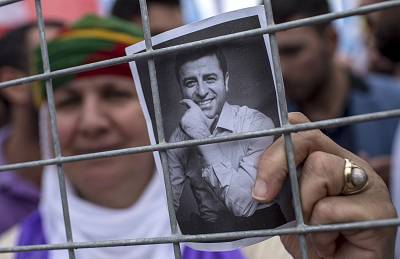 Supporters of imprisoned Selahattin Demirtas, the HDP\'s presidential candidate, in Istanbul on Sunday.