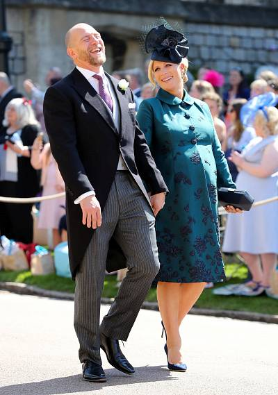 Zara and Mike Tindall arriving at Windsor Castle for the wedding of Zara\'s cousin, Prince Harry, to Meghan Markle on May 19, 2018.