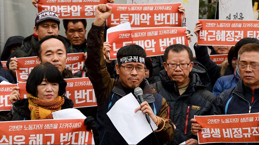 Rendőrkézen a dél-koreai szakszervezeti vezető