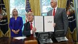 Image: President Trump Signs Executive Order Ending Family Separations At B