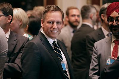 Venture capitalist Peter Thiel of the Founders Fund and other technology executives and leaders attend the inaugural meeting of the American Technology Council in the Indian Treaty Room at the Eisenhower Executive Office Building next door to the White House June 19, 2017 in Washington.
