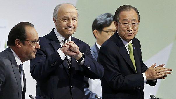 """Paris climate talks: Fabius announces """"ambitious"""" final draft"""