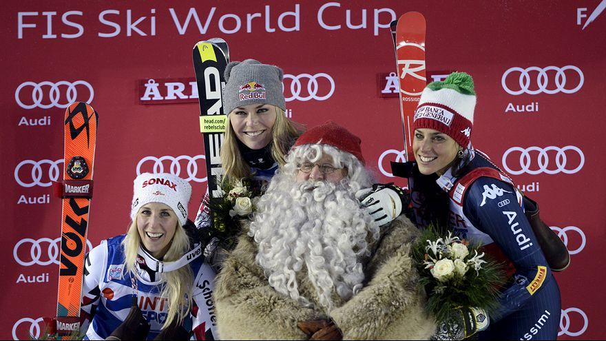 Lindsey Vonn wins giant slalom as Mikaela Shiffrin crashes out