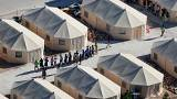 "Image: Immigrant children housed in a tent encampment under the new ""zero t"