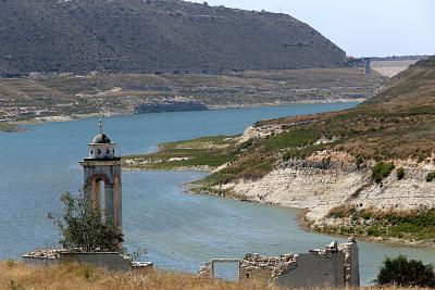 An abandoned church towers over the Kouris dam near Limassol, Cyprus.