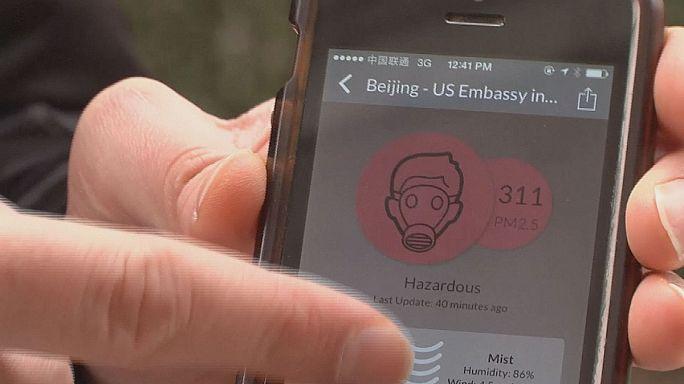 Laser Egg und App messen Pekinger Smog
