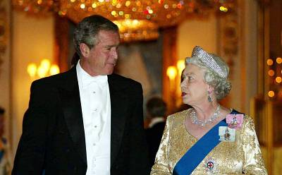 President George W. Bush met the queen in 2003 despite anti-Iraq war protests.