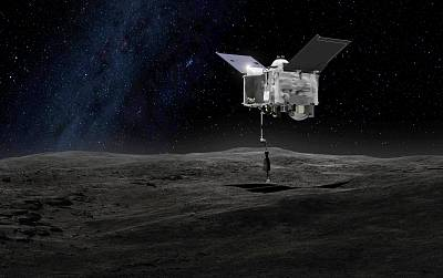NASA\'s OSIRIS-REx spacecraft contacts the asteroid Bennu in this artist\'s rendering.