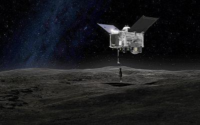 NASA\'s OSIRIS-REx spacecraft contacts the asteroid Bennu in this artist\'s rendering.