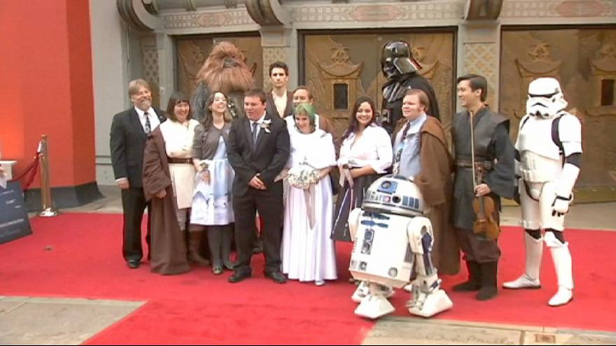Star Wars fans tie the knot in line to see The Force Awakens