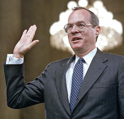 Supreme Court nominee Anthony Kennedy is sworn in before the Senate Judiciary Committee on Capitol Hill in Washington, Dec. 14, 1987.