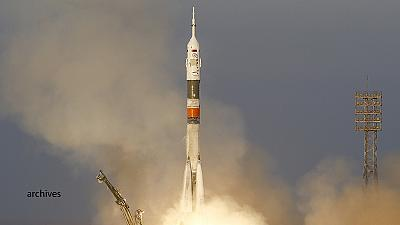 Cargo vehicle launches on a Soyuz rocket to the ISS