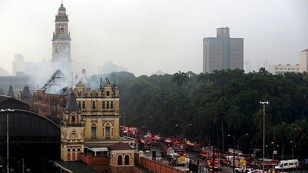 Brazil railway station blaze kills firefighter in Sao Paulo