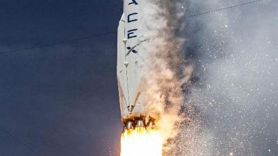 SpaceX rocket launches 11 satellites and vertically lands back on Earth