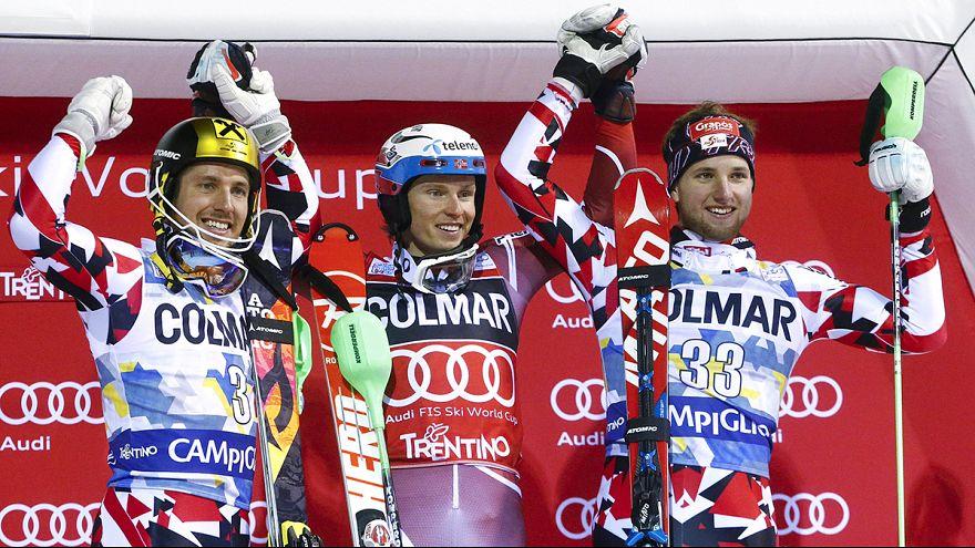 Kristoffersen wins night slalom as Hirscher suffers near miss with drone