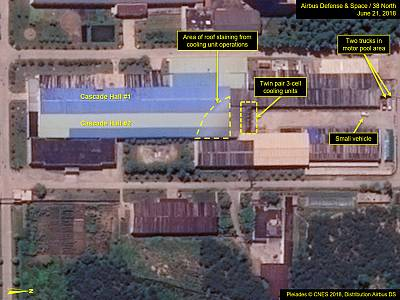 An annotated satellite image shows what the web site 38north says are operations at the Yongbyon uranium enrichment plant in North Korea.