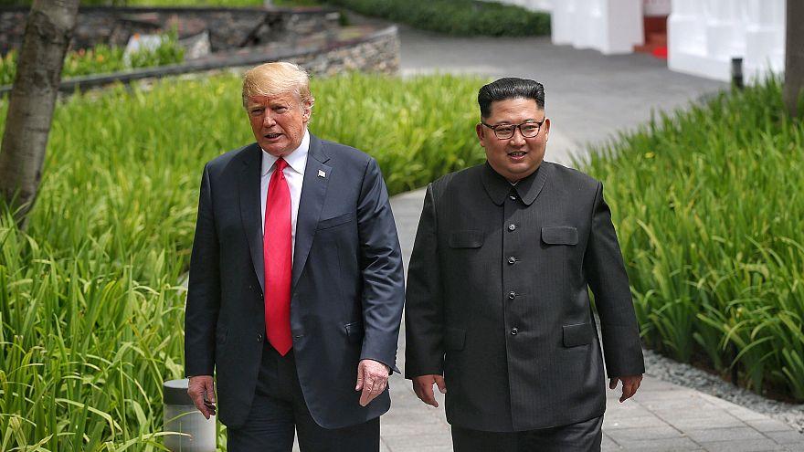 Image: U.S. President Donald Trump walks with North Korean leader Kim Jong