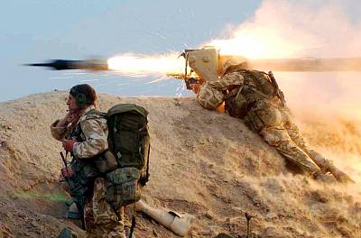A British Royal Marine fires a missile at an Iraqi position on the Al Faw peninsula, southern Iraq, in 2003.