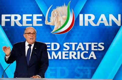Rudy Giuliani delivers a speech during National Council of Resistance of Iran (NCRI), meeting in Villepinte, France.