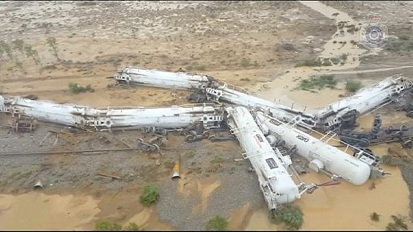 Sulphuric acid spills as freight train derails in Australia