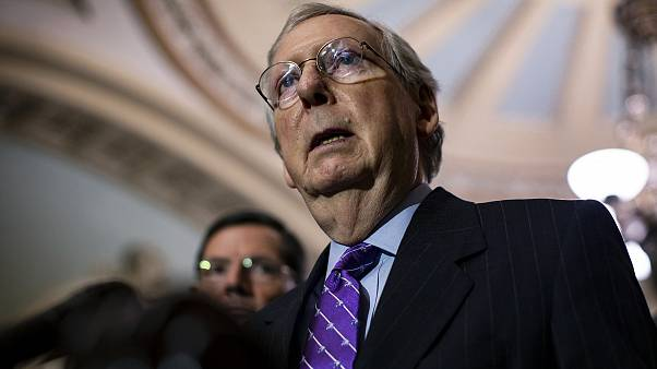 Image: Senate Majority Leader Mitch McConnell speaks during a news conferen