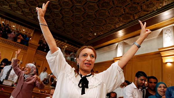 Image: Souad Abderrahim, a candidate of the Islamist Ennahda party celebrat