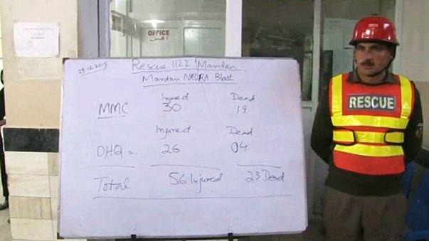 Motorbike bomber kills at least 23 people in Mardan, Pakistan