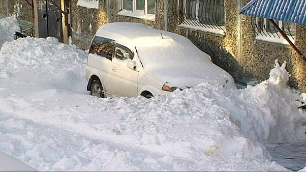 Russia, 20 centimetri di neve in Kamčatka