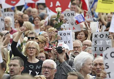 Protesters gather in front of Poland\'s Supreme Court building in Warsaw on Wednesday.