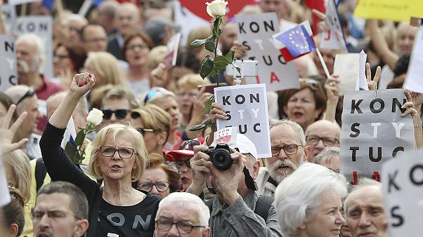 Image: Protesters in Warsaw, Poland
