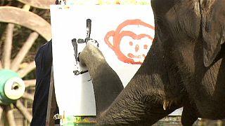 Elephants flourish in handwriting display