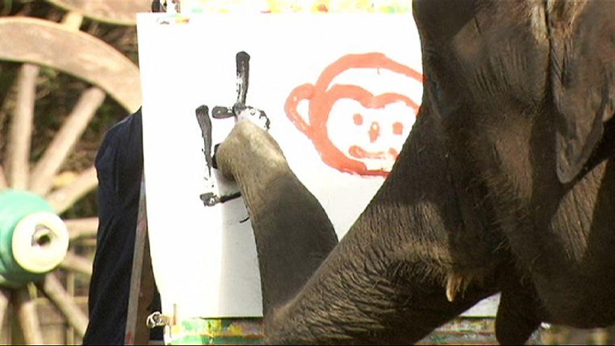 فيلة تتقن الرسم