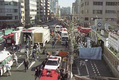 The injured of the deadly gas attack are treated by rescue workers near Tsukiji subway station in Tokyo, on March 20, 1995.