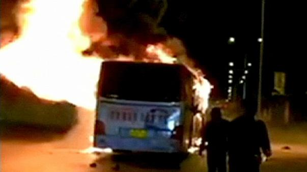 Un bus s'enflamme en Chine
