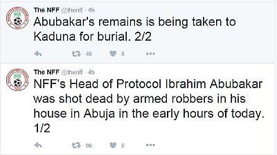 Un officiel de la fédération nigériane de football tué ce matin