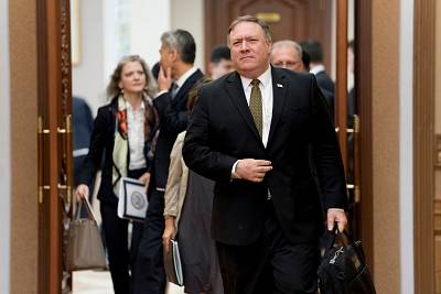 Secretary of State Mike Pompeo arrives for a meeting with Kim Yong Chol a North Korean senior ruling party official and former intelligence chief for a second day of talks at the Park Hwa Guest House in Pyongyang