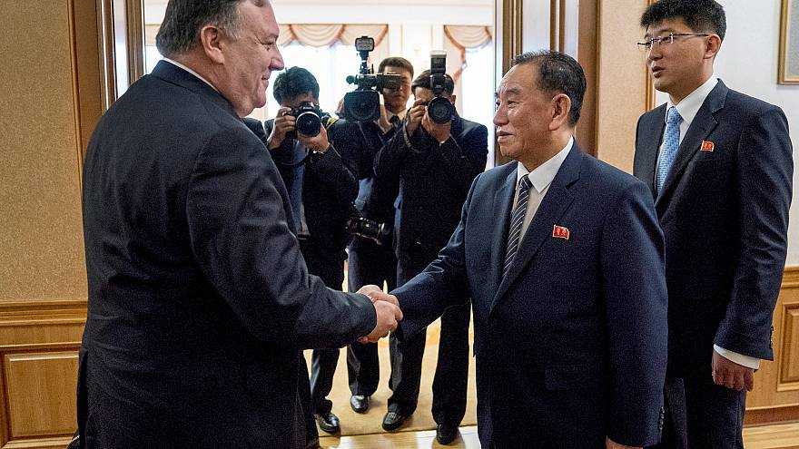 Image: Mike Pompeo meets with Kim Yong Chol for a second day of talks at th